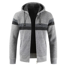 Oushisun свитер пальто для мужчин 2019 зима толстый теплый кардиган с капюшоном Джемперы для мужчин полосатый кашемир шерсть Подкладка молния фл...(China)