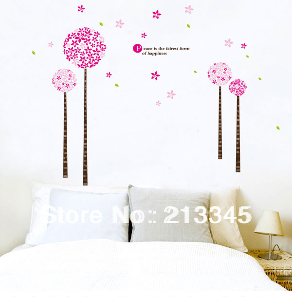 [Saturday Mall] - Pandora wall stickers tree pink bedroom girls room warm home decor decals removable pvc 4109