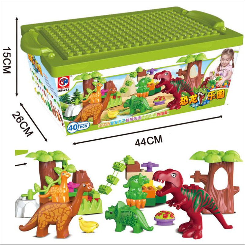 40Pcs/Lot Dino Valley Building Blocks Sets Large particles Animal Jurassic World Model toys Bricks Compatible legoelieds Duploe<br><br>Aliexpress