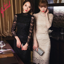 2015 Spring Autumn New Arrival Women Dress Cute Slim Stand-collar Lace Long-sleeve Knee-length Dresses Vestido De Renda WQL2575 (China (Mainland))