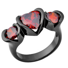 2015 Fine Jewelry Size 6/7/8/9/10 Lovely Heart Three-Stone Ruby Anel Aneis 10KT Black Gold Filled Women Wedding Rings RB0148