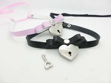 2014 Fashion Lace up Safe Heart Lock Key Necklace Punk Goth Handmade Stud Rivet Bowknot Choker Collar Necklace Fashion Jewelry