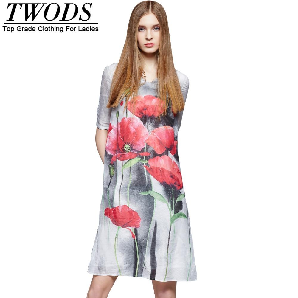 Twods Silk 2016 Summer New Tulip Fowers Print Women Dress Half Sleeve V-neck Side Split Tunic Knee Length Short Dresses S M L XL