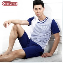 Free Shipping New Men's Cotton Pajama Set Lounge Set shirt  and Shorts Sleepwear Sports Style  Size M L XL XXL(China (Mainland))