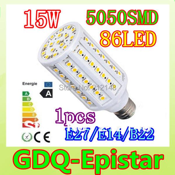 Free shipping 1pcs 15W E14 E27 B22 86LED 5050 SMD110V/220V Corn Bulb Light Maize Lamp LED Light Bulb Lighting White/Warm White