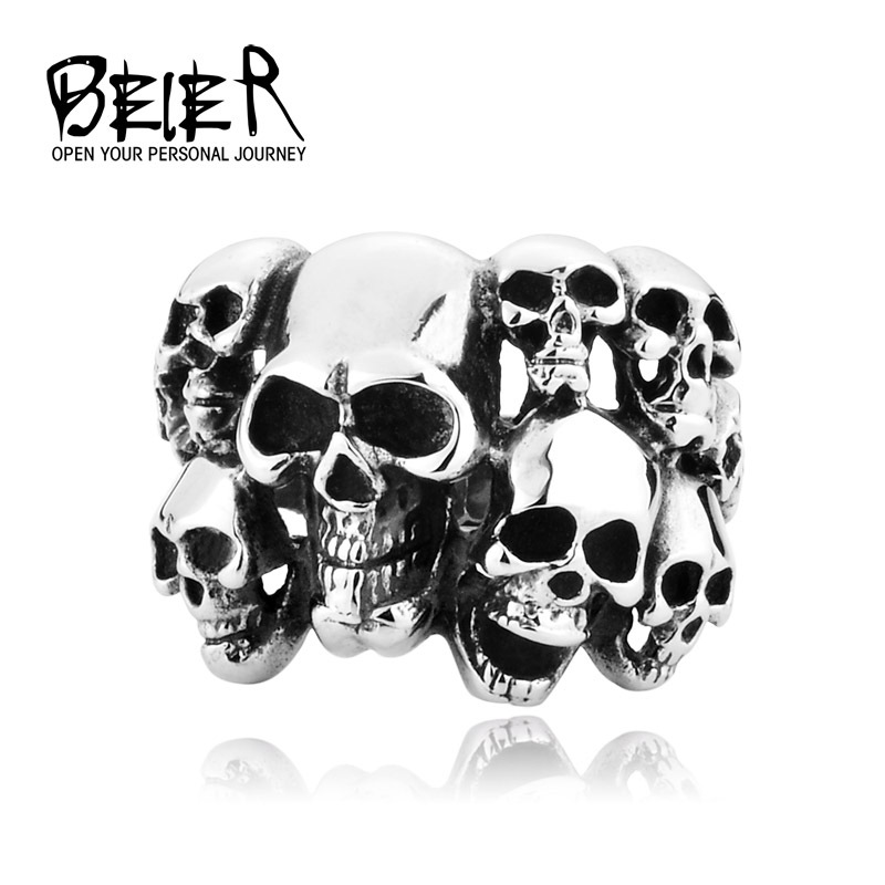 Cheap Men's Punk Biker Jewelry lot of multi solid Skull Ring 316L Stainless Steel Jewelry BR8-041 US size(China (Mainland))