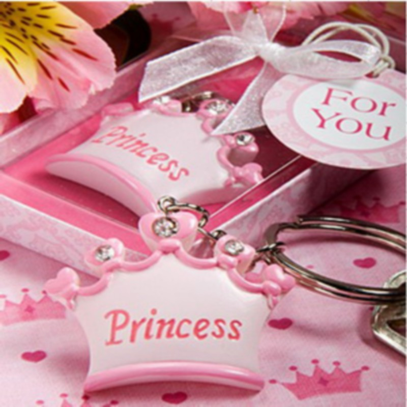 100pcs lot pink crown themed princess keychains baby shower favors and