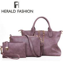 3 Pcs/Set Vintage Handbags Women Messenger Bags Female Purse Solid Shoulder Bags Office Lady Casual Tote 2015 New Top-Handle Bag(China (Mainland))