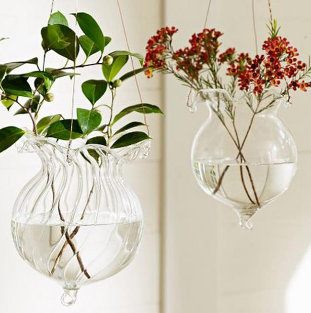 Free Shipping Home Decor Creative Glass Ruffle Edges Vase Water Planting Glass Vessel Hanging Flower Pots/Water Planter Vase Set(China (Mainland))