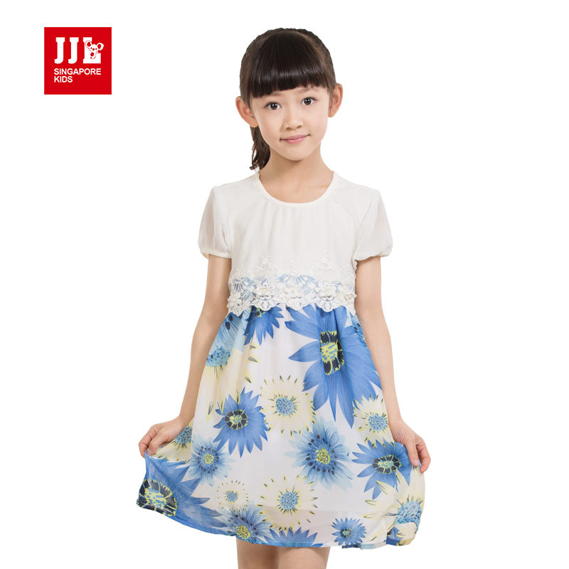 dress for girls floral short sleeves bohemian styles clothing with lace design summer beach sweet girls dress size 4-11 years(China (Mainland))