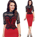 5XL 2016 New European Women Clothing Plus Size Party Hip Dresses Lace Stitching Stand Collar Half