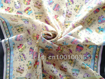 Free Shipping! 100% pure silk  Scarf , 90cm*90cm square scarves,cat head print