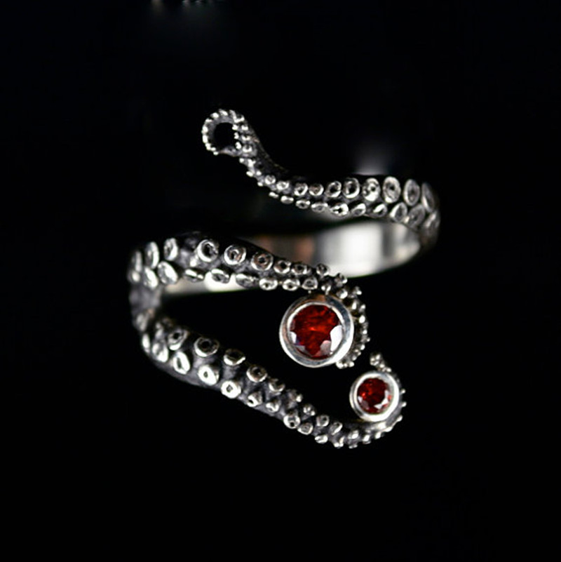 Tentacle Ring Band Octopus Ring Seductive Tentacle Ring in ancient silver Plating red Rhinestone by Octopus adjustable size(China (Mainland))