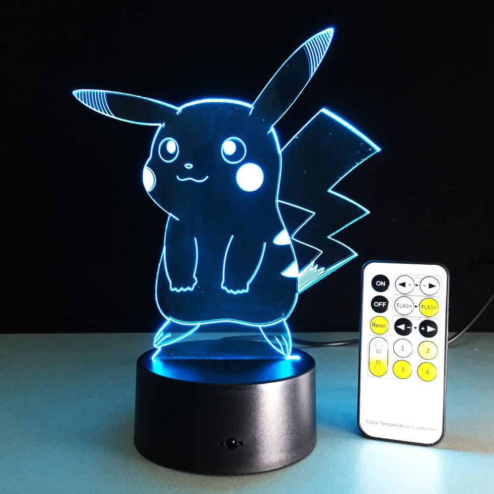 USB RGB лампа в виде Пикачу с сенсорным затемнением 3D ночной Светильник IMG_2173