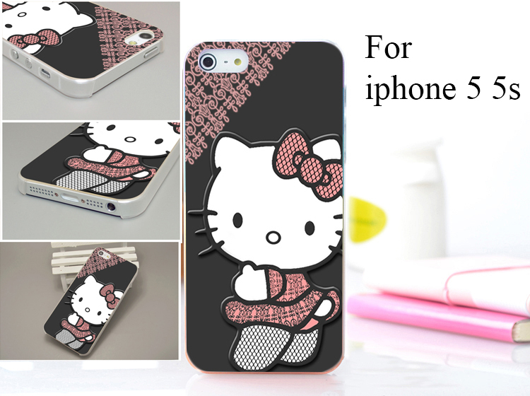 cartoon hello kitty pink Hard Case Cover for iphone 5 5s 5g 5th 1PCS/lot(China (Mainland))