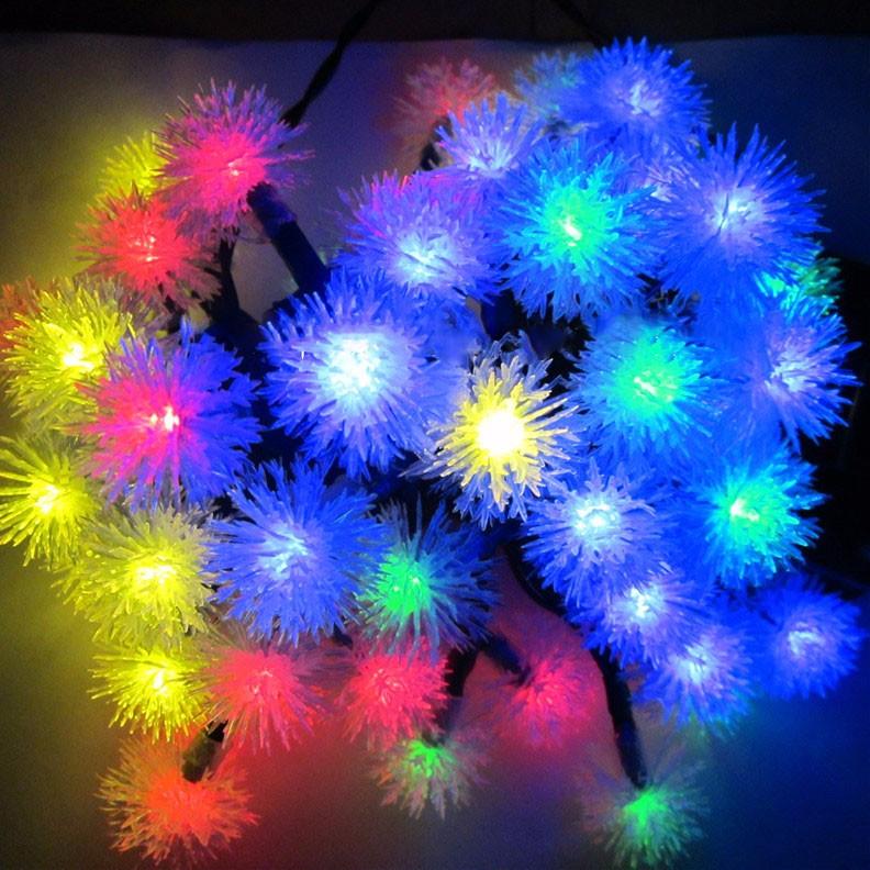 solar LED fuzzy ball light string-10