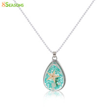 """8SEASONS Handmade Boho Transparent Resin Dried Flower Necklace Ball Chain Silver Plated Drop 45cm(17 6/8"""") long, 1 Piece(China (Mainland))"""