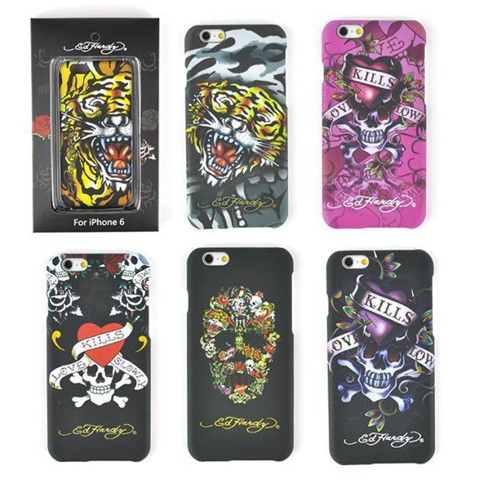 Luxury Fashion Tide Brand Ed Hardy Cell Phone Cases For iphone 6 Skull Tiger Print Hard Back Cover For iphone6 4.7 inch(China (Mainland))