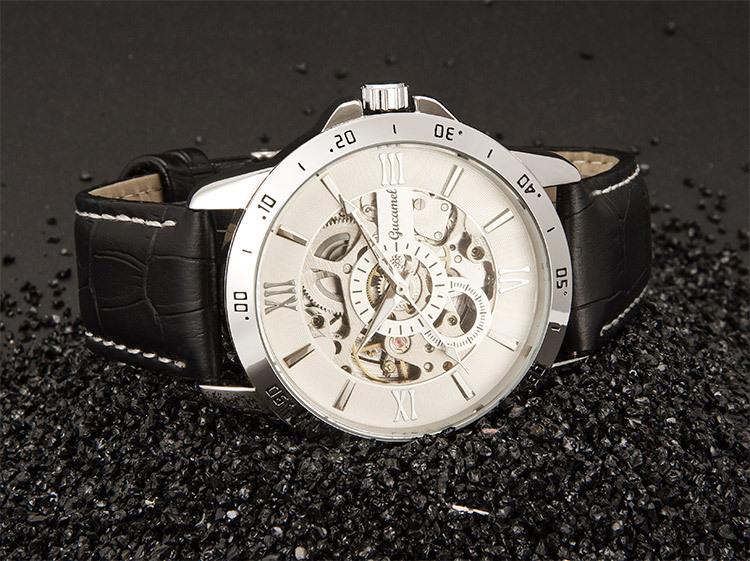 Gucamel aaa часы мужчины наручные часы набора 45 мм диаметр полый высококлассные моды деловые мужчины автоматические механические часы