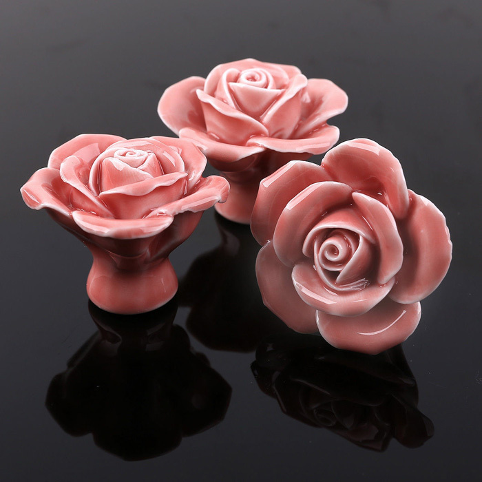 Ceramic Flower Knob Dresser Drawer Pull Kitchen Cabinet Knobs Vintage Pink Ceramic Cupboard door Closet Knob Furniture Hardware<br><br>Aliexpress
