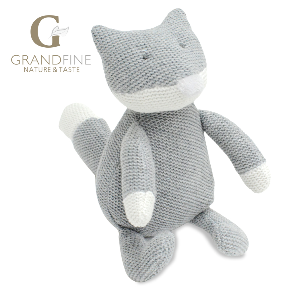 Bulk 22cm high quality hand-made cute grey fox baby doll,cotton linen Eco material ,plush toys for birthday party gift(China (Mainland))