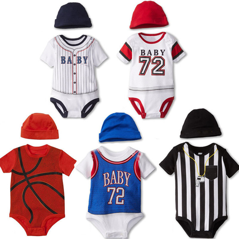 Baby Boys Girls Clothes Summer Football Basketball Baby Rompers Boy Girl Clothing Newborn Next Infant Clothes Jumpsuits Overalls(China (Mainland))