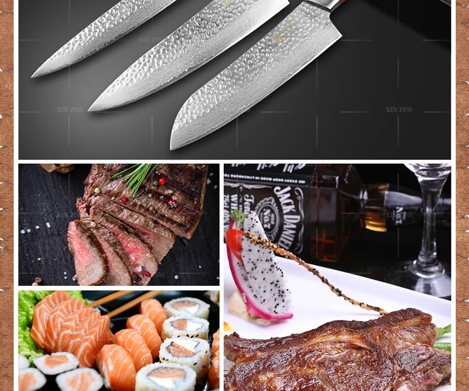 Buy XINZUO 3 pcs Kitchen knives set Japanese Damascus kitchen knife chef cleaver knife kitchen tool Color wood handle free shipping cheap