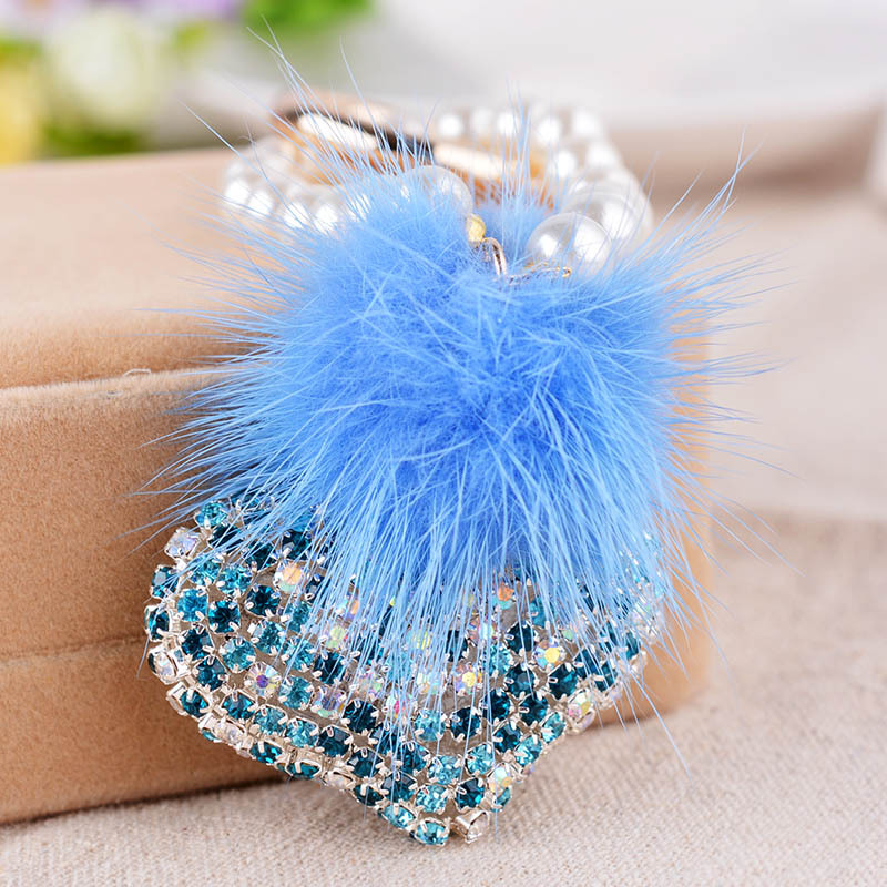 2016 Sexy heart Rabbit Fur Ball Keychain Pearl fur pom pom Keychain llaveros Key Ring sleutelhanger Fur Bag Charm(China (Mainland))