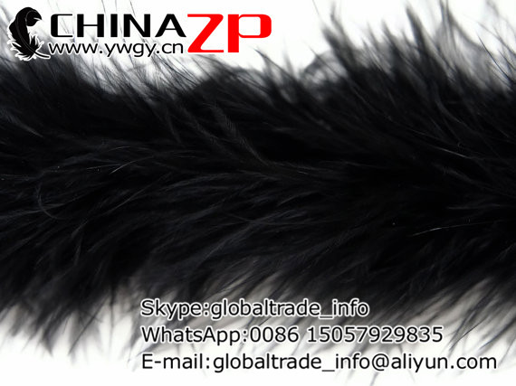 CHINAZP Factory Retail and Wholesale 2yards/lot 20g/piece Graceful Dyed Black Marabou Feather Boas(China (Mainland))
