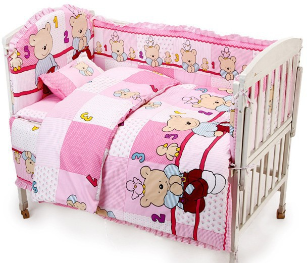Promotion! 6PCS Unisex 100% cotton baby bedding crib set 120*60 120*70 for baby cute pattern,include (bumpers+sheet+pillowcase)<br><br>Aliexpress