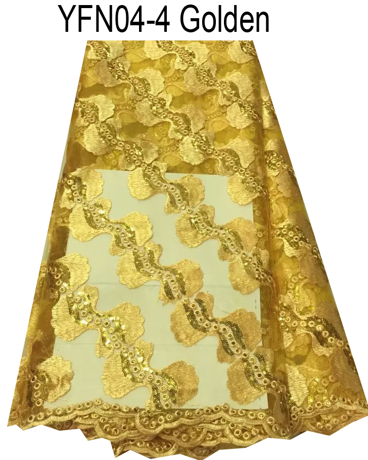 Fashion polyester chemical French lace gold color African lace fabric embroidered textiles sewing fabric for party dress(China (Mainland))