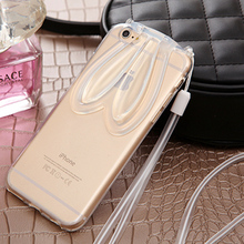 luxury soft silicon case for iphone 6S Plus With lanyard, Clear back cover Case for iphone6 Plus 5.5 inch With Stand Function