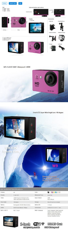 Gopro SJ6000 Style Full HD DVR Action Camera W9 Wifi 1080P  Waterproof 30M Mini