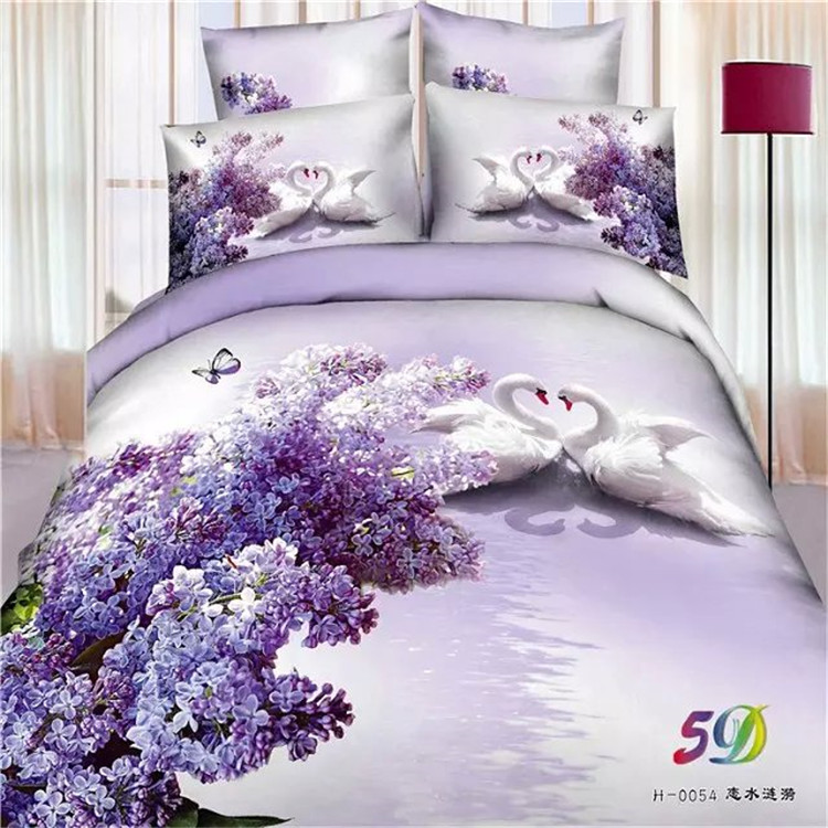 Free shipping 100%cotton 3d pink rose sunflower Bedding Set 4pcs full/queen/king size purple floral swan butterfly home textile(China (Mainland))