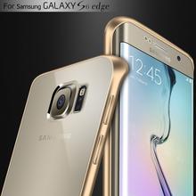 Pour Samsung S6 Bord Capa Cas En Aluminium En Métal Pare-chocs + Clair acrylique Couverture Pour Samsung Galaxy S6 Bord G925 De Luxe Hybride Shell(China (Mainland))