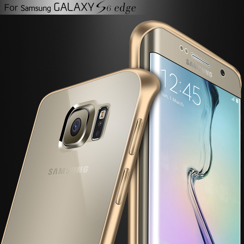 For Samsung S6 Edge Capa Cases Metal Aluminum Bumper +Clear Acrylic Cover For Samsung Galaxy S6 Edge G925 Luxury Hybrid Shell(China (Mainland))