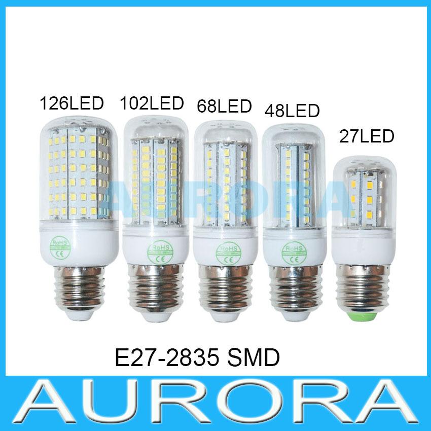 E27 2835 SMD LED bulb 220V/110V 9W 15W 25W 30W 35W 27/48/68/102/126LED Corn light  LED lamp Light Crystal Chandelier #60(China (Mainland))