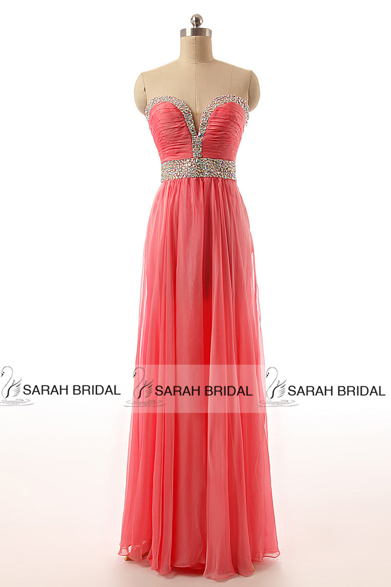 Coral chiffon Beading Prom Dresses 2015 New Sweetheart Peacock Long Evening Dresses Party Gowns Vestido De Baile Longo TZ002(China (Mainland))