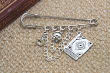 12pcs HP inspired Wizard spells themed charm with chain kilt pin brooch (50mm)