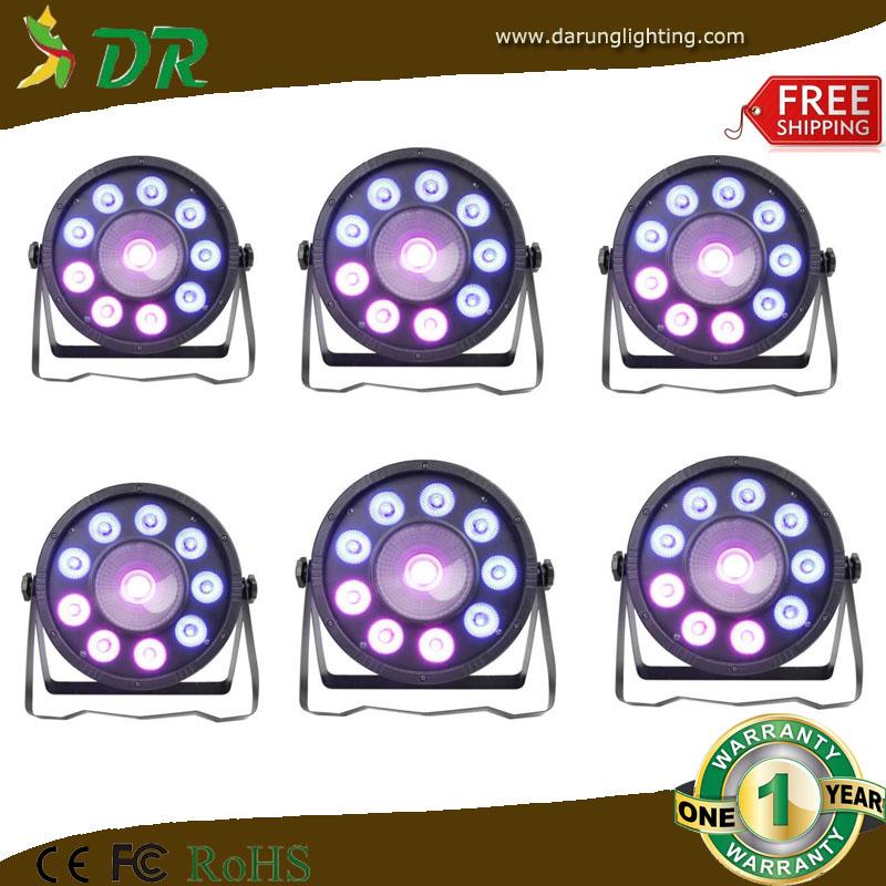 ultra bright 9 leds 3watt rgb tri color slim par uplight / 15w cob led par cans (6pc in a lot)(China (Mainland))