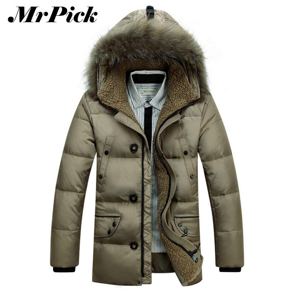 Men Thick Long Down Jackets 2014 Winter Snow Fashion Detachable Fur Collar Business Slim Solid Color Warm Outwear Coats E1271Одежда и ак�е��уары<br><br><br>Aliexpress