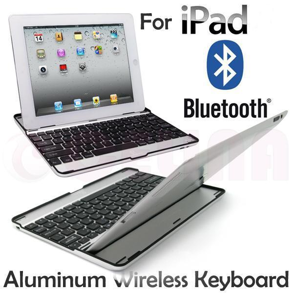 White Aluminum Metal Wireless Bluetooth Keyboard Case Cover for Apple iPad 2 3 4,Free Shipping+Tracking