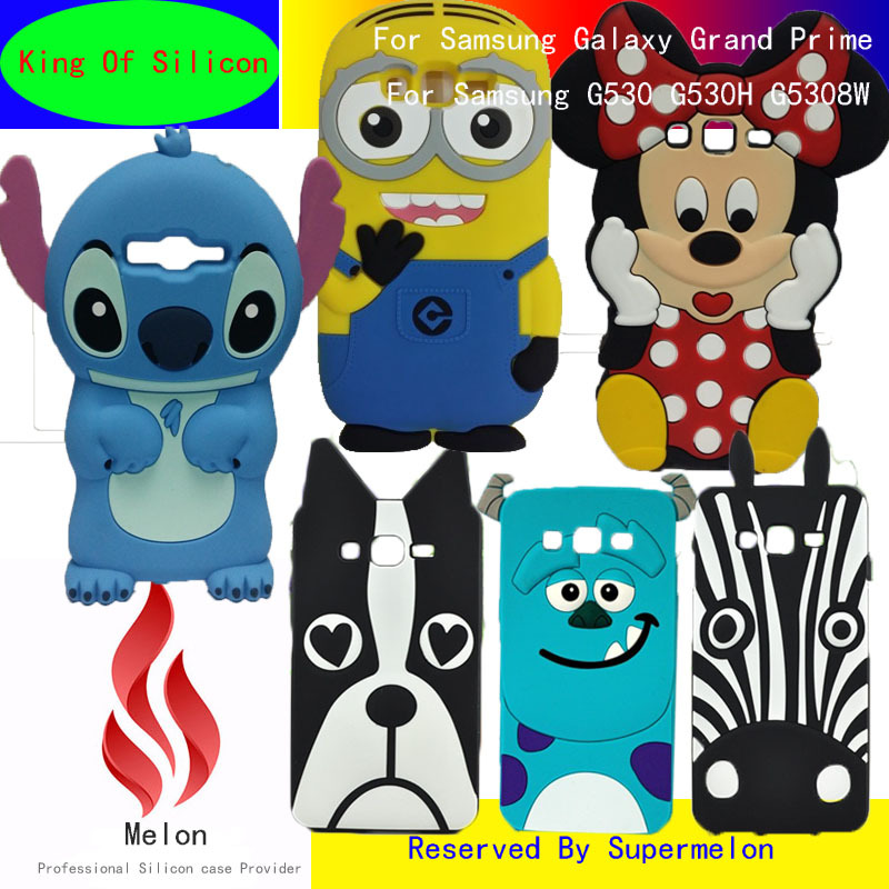 3D Cute Cartoon Batman Sulley Minnie Stitch Minions Silicone Soft Cover Cases For Samsung Galaxy Grand Prime G530 G530H G5308W(China (Mainland))