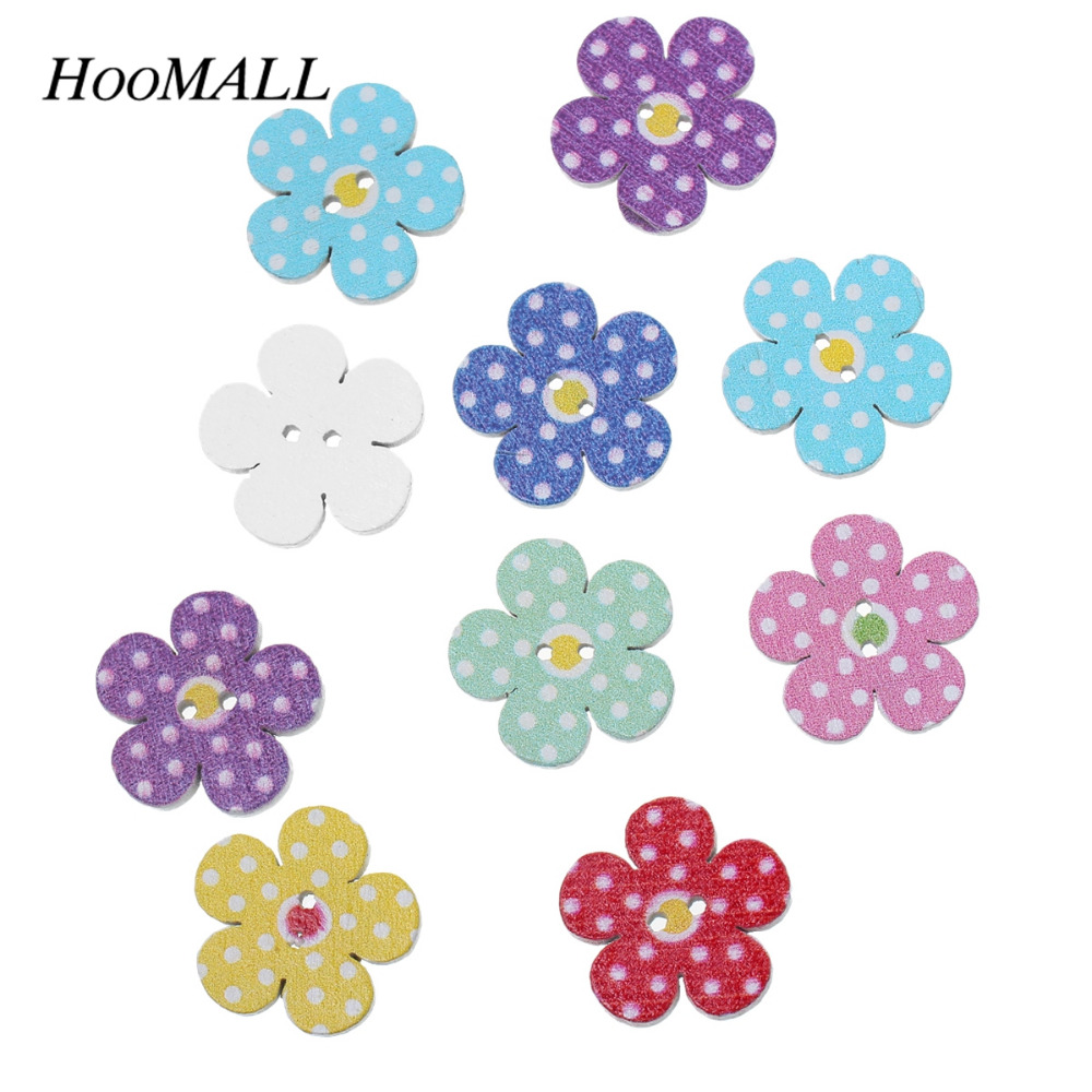 Hoomall Brand Buttons 100PCs 20mm Multicolor Wooden Buttons Flower Decorative Buttons Scrapbooking Crafts DIY Sewing Accessories(China (Mainland))