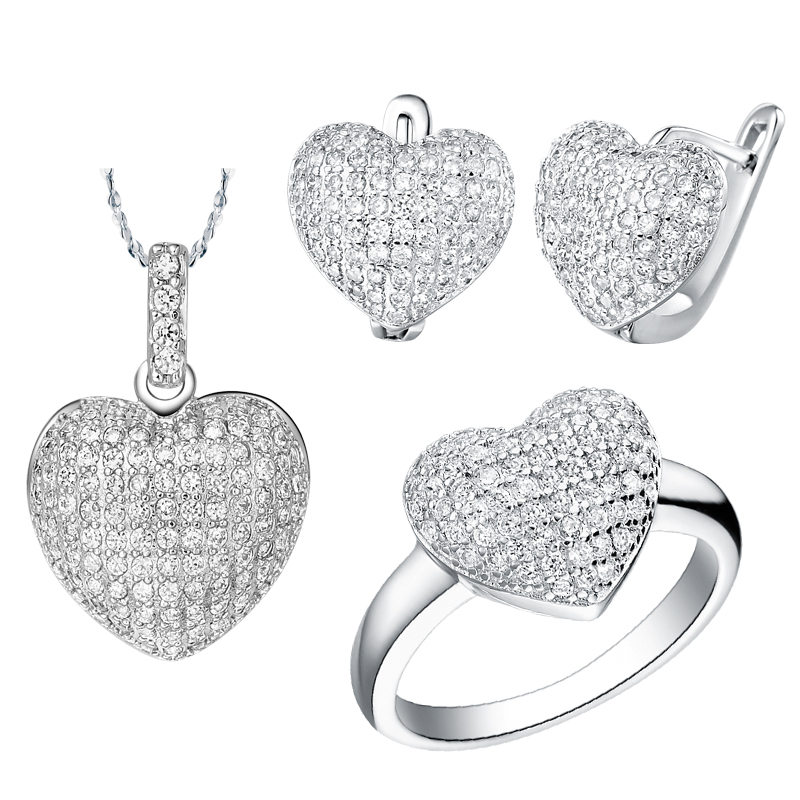 Cheap Wedding Jewelry Sets For Women Heart Shape Pendants White Simulated Diamond Romantic Necklaces Earrings & Rings Ulove T004(China (Mainland))