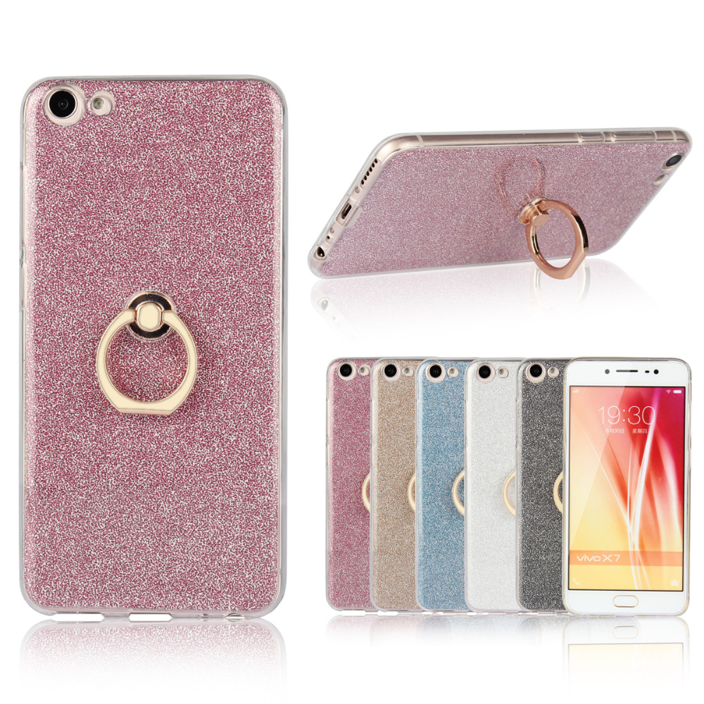 VIVO X7 Case Soft TPU Case Bling Shining Glitter Metal Ring Phone Holder Back Cover VIVOX7 VIVO X7 Case