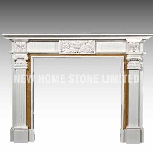 simple white marble fireplace surround with yellow lines<br><br>Aliexpress