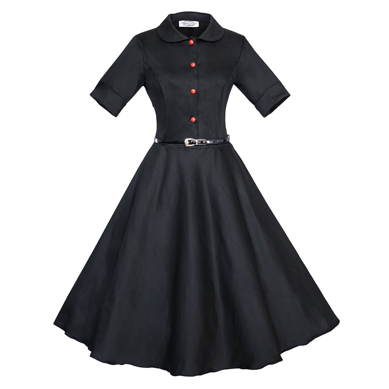 New Fashion Womens Summer Vintage Solid Black Red Peter Pan Collar Short Sleeve Casual Party Skater A Line Flare Swing Dress(China (Mainland))