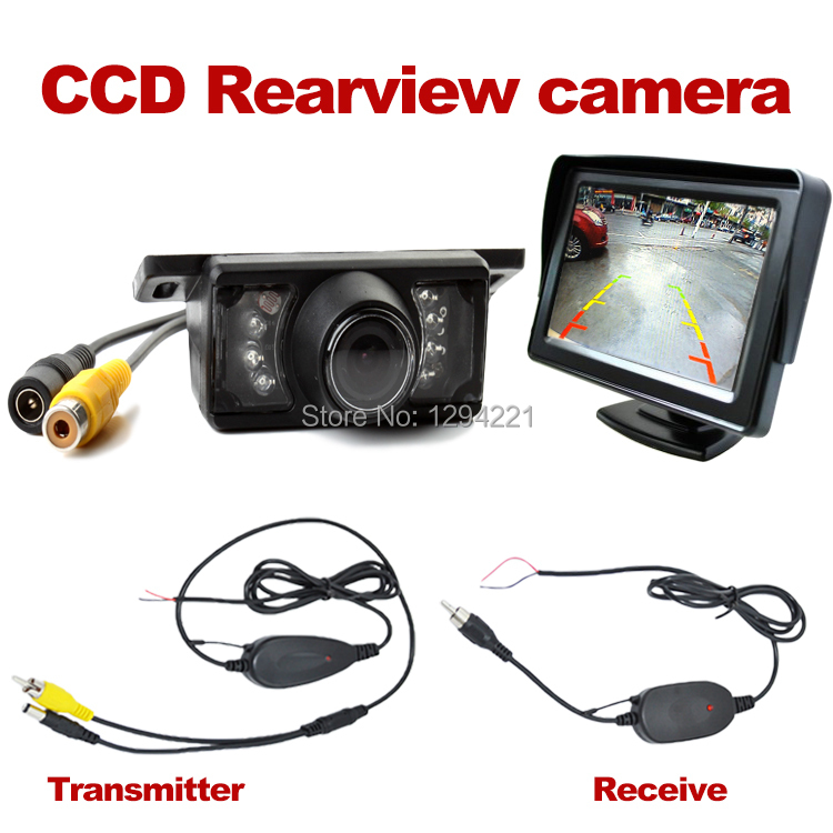 "4.3"" Car TFT LCD Monitor Mirror+Wireless Reverse Car Rear View Backup CCD Camera Kit(China (Mainland))"