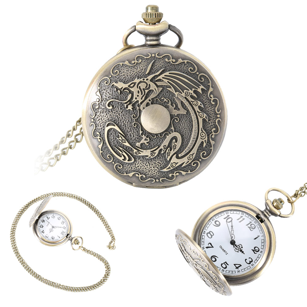 Vintage Dragon Alloy Pocket Watch Necklace Chain Quartz Ancient Monster Fob Watches Men Women Birthday Gifts LXH(China (Mainland))